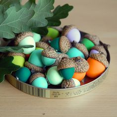 DIY painted acorns - photo only - lightly sand the acorn and paint complementary colors- arrange in tin lid or other container