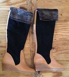 NEW $398 ANTHROPOLOGIE by SCHULER & SONS PENNY QUILTED Shearling Wedge BOOTS 9