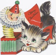 vintage Hallmark Christmas kitten