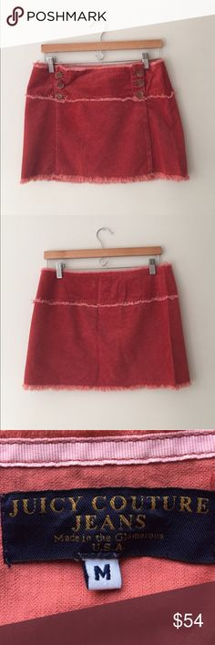 Juicy Couture Salmon Frayed Hem Mini Skirt Size M Gorgeous blue label fringe Hem & trimmed corduroy skirt in Salmon by Juicy Couture. Size Medium. Excellent preowned condition. Juicy Couture Skirts