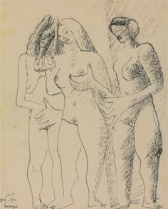 Le Corbusier (Charles-Edouard Jeanneret, 1887-1965)  Trois femmes  signed with initials, inscribed and dated 'L-C NY-50 30 August' (lower left) pen and black ink on paper  10½ x 8¼ in. (26.7 x 21 cm.)  Drawn in New York, 30 August 1950 Estimate $7,000 -  $9,000