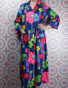 60's Psychedelic Floral Robe in my Etsy shop https://www.etsy.com/ca/listing/571541214/60s-psychedelic-floral-robe-bright-neon