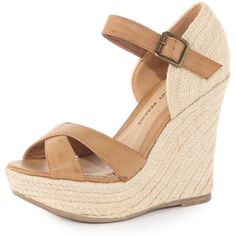 Tan strap raffia wedges (183.405 COP) ❤ liked on Polyvore featuring shoes, sandals, wedges, zapatos, heels, shoes &amp boots, wedge heel shoes, strappy heel sandals, strap sandals and wedge sandals