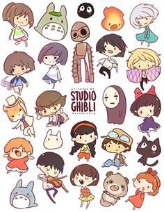spirited away, chihiro ogino, haku, no face, my neighbor totoro, totoro, chibi totoro, chu totoro, laputa castle in the sky, sheeta, pazu, howl's moving castle,  howl, cacifer, sophie hatter, princess mononoke, ashitaka, san, the cat returns, baron humbert von gikkington, kik's delivery service, kiki, jiji, gake no ue no ponyo, whisper of the heart, shizuku tsukishima, seiji amasawa, the borrower arrietty