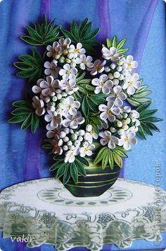 Pictura murala Desen flori Oh quilling Viburnum de sârmă de hartie Banda fotografie 1