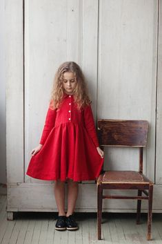 Classic Dress for Girls, Long sleeves, Red Poppy via @deuxpardeuxKIDS