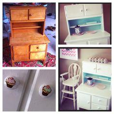 Little hutch makeover. #paint #hutch #children's furniture