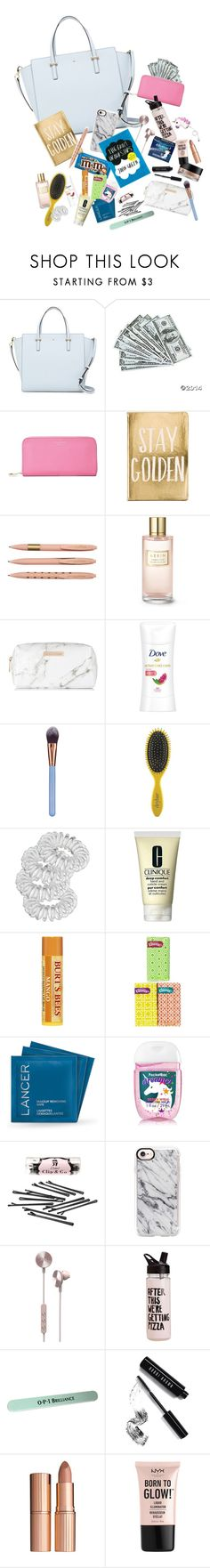 """""""Handbag Essentials"""" by carly678 ❤ liked on Polyvore featuring Kate Spade, Aspinal of London, Estée Lauder, Spectrum, Luxie, Drybar, Miss Selfridge, Clinique, Kleenex and Lancer Dermatology"""