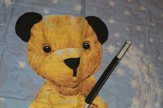 Sooty The Bear Single Duvet Cover and Pillowcase.c1990s. Sooty, Sweep, Soo, Scampi.  Vintage Material for Upcycling by AtticBazaar on Etsy