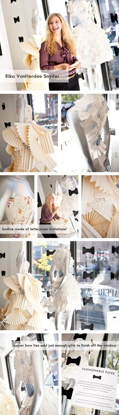 Display dresses for a stationary store made out of invitations - how cool is that?