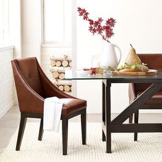 Curved Leather Dining Chair modern dining chairs and benches