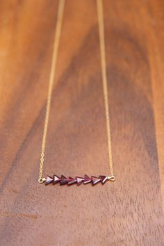 Garnet Triangle Beaded Bar Necklace