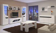 BRYZA kolekcja mebli pokojowych w lśniącym białym połysku z gustowna delikatną czarna wstawką , dedykowana do dużych jak i małych salonów oraz pokoi wypoczynkowych , meble stworzone dla Ciebie