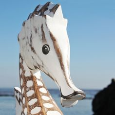 $39.95-Giant Seahorse | Wooden Seahorse | Hand Carved Seahorse - buy the sea