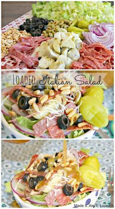 Made It. Ate It. Loved It.: Loaded Italian Salad (no onion/pepporcini, add marin… Made It. Ate It. Loved It.: Loaded Italian Salad (no onion/pepporcini, add marinated mushrooms and green pepper) Summer Salad Recipes, Summer Salads, Diet Recipes, Cooking Recipes, Healthy Recipes, Recipies, Lunch Recipes, Kale Recipes, Healthy Breakfasts