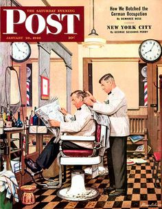 Barber Shop, art by Stevan Dohanos. Saturday Evening Post - January 26, 1946