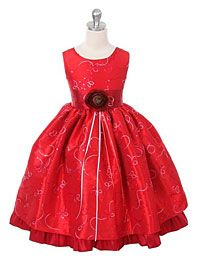 #FlowerGirlDresses -Flower Girl Dress 142- Red Sleeveless Sparkle Dress