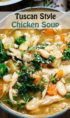 If you've made some homemade turkey broth and have a little turkey leftover, you can make it into a delicious soup. There is pretty much no wrong or right way to make turkey soup, so check your pantry and let the creative ideas fly. Chicken Soup Recipes, Healthy Chicken Recipes, Cooking Recipes, Chicken Tuscan Soup, Turkey Soup, Turkey Broth, Turkey Sausage, Mediterranean Diet Recipes, Mediterranean Soup