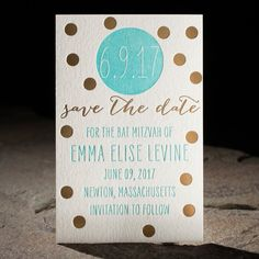Dots letterpress + foil stamped Bat Mitzvah save the date from Smock
