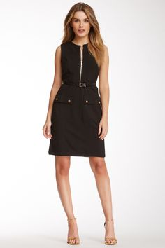 Sharagano Sharkskin III Belted Dress #littleblackdress