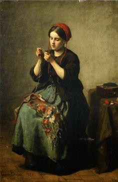 Jules Adolphe Aimé Louis Breton (French, 1827-1906), Peasant Woman Threading a…