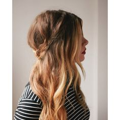 Half-Up Braided Crown ❤ liked on Polyvore featuring beauty products, haircare, hair, hairstyles, people, beauty and cabelos