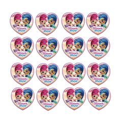 16x EDIBLE Shimmer Shine Heart Cupcake Toppers Birthday Wafer Paper 4cm Uncut