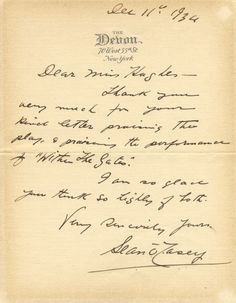 """O'CASEY SEAN: (1880-1964) Irish Dramatist. A.L.S., Sean O'Casey, one page, 8vo, New York, 11th December 1934, to Miss. Hughes, on the printed stationery of The Devon. O'Casey thanks his correspondent for her kind letter 'praising the play & praising the performance of """"Within the Gates""""' and concludes 'I am so glad you think so highly of both'."""