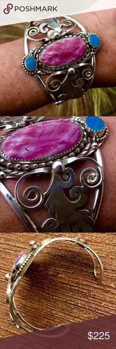 """Sterling Spiny Oyster Cuff by Francisco Gomez A one only work of art by renown Spanish Master Lapidarist/Artisan Francisco Gomez, A Sterling Purple Spiny Oyster Cuff with Natural Turquoise Accents, Front of Bracelet is 2.25"""" Wide, Main Oyster Shell measures 17 X 33mm, Saw Tooth Bezel set with 2-approx. 8x9mm Turquoise Cabochons, also Sawtooth Bezel set, Cuff is 6"""" Around with 1.25"""" Gap, 47.1g Francisco Gomez Jewelry Bracelets"""