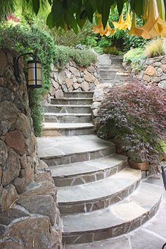 Terraced Backyard Design, Pictures, Remodel, Decor and Ideas Landscape Stairs, Landscape Bricks, House Landscape, Landscape Design, Landscaping Retaining Walls, Outdoor Landscaping, Front Yard Landscaping, Landscaping Ideas, Garden Stairs