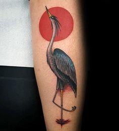 animal tattoo - 70 Heron Tattoo Designs For Men Coastal Bird Ink Ideas Tribal Tattoos, Tattoos Skull, Sleeve Tattoos, Dope Tattoos, Leg Tattoos, Tatoos, Sad Tattoo, Bird Tattoo Men, Bird Tattoos