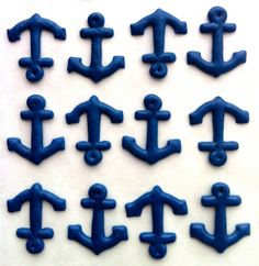 Anchors- Made from Royal Icing-  in Navy (30)