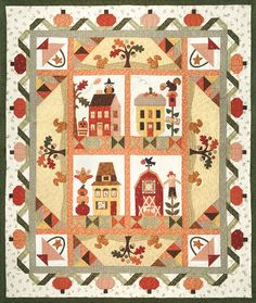 Pumpkin Patch Lane Block of the Month OR All At Once! with FREE Fabric Accessory Pack for Reservations Placed by by The Quilt Company Applique Patterns, Applique Quilts, Quilt Patterns, Wool Applique, Primitive Quilts, Primitive Fall, Shabby Fabrics, Halloween Quilts, House Quilts