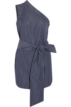Navy and white cotton poplin Snap fastenings along side 100% cotton Dry clean Designer color: Ink