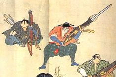 Japanese wood block print of samurai firing o-zutsu tanegashima (matchlock hand cannon) loaded with fire arrows (bo-hiya).