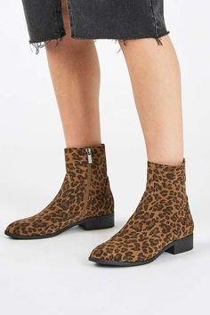 Do animal prints for Autumn in these suede sock boots. #Topshop