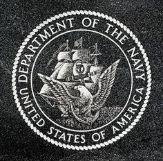 Department Of The Navy Emblem Carved in  Polished Granite