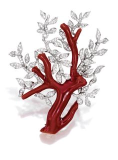 Black Gold Jewelry 18 Karat White Gold, Coral and Diamond Brooch, Sifen Chang: The red coral branches decorated with leaves set with round diamonds weighing carats, signed with Chinese characters for Sifen Chang. With signed box. Black Gold Jewelry, Coral Jewelry, Gems Jewelry, High Jewelry, Luxury Jewelry, Modern Jewelry, Jewelry Art, Antique Jewelry, Gold Jewellery