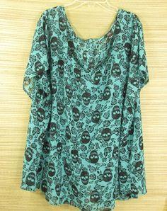 Torrid Women's Plus Size 4 Blouse Short Sleeve ShearTurquoise Black Skull Floral #Torrid #Blouse