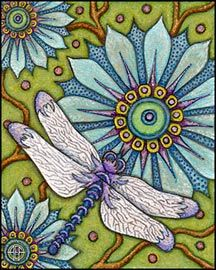 dragonfly with blue flower