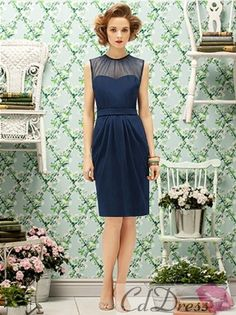 Sheath Knee Length Chiffon with Ruched Bridesmaid Dresses - Special Occasion Dresses - CDdress.com
