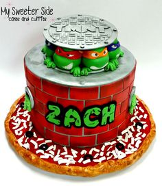 Heroes in a half shell!Chocolate chip cake filled with hot...