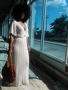 summer trend crochet maxi dress with natural kinky afro hair