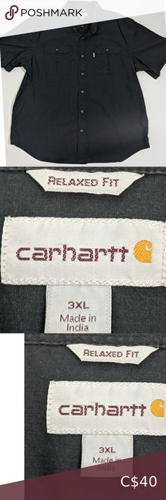 Carhartt Relaxed Fit Button Down 🔸Size: 🔸Pit to pit: 29 🔸Shoulder seam to cuff: 12 🔸Front of collar to hem: 30 🔸Condition: Pre-owned, great condition. 0107 Carhartt Shirts Casual Button Down Shirts Casual Shirts For Men, Casual Button Down Shirts, Carhartt Shirts, Plus Fashion, Fashion Tips, Fashion Trends, Colorful Shirts, Button Downs, Black Jeans