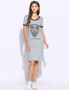 Gray Women Tiger Print Short Sleeve O Neck Casual Styles Patchwork T-Shirt Dress
