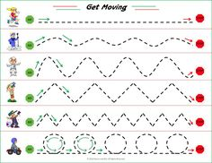 Having the child trace the line from beginning to end in the corresponding shapes promotes visual motor development.