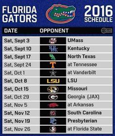 2016 Gator Football schedule.