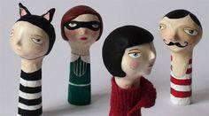 eco kids, flor panichelli, green design for kids, green kids, paper mache dolls, paper mache finger puppets, pelpa on etsy