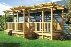adding a front deck on a ranch house | Parallel Porch Deck w/ Trellis and Porch Swing - Project Plan 90016
