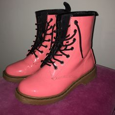 Doc Martin inspired pink boots Pink with black laces Wet Seal Shoes Winter & Rain Boots